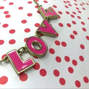 cute Pink & gold LOVE necklace on golden chain 💗